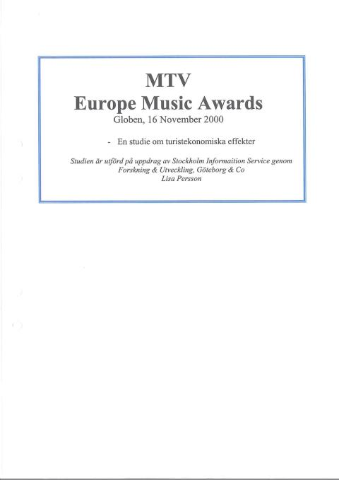 Rapport: MTV Music Awards Stockholm 2000