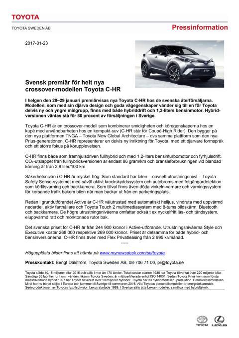 Svensk premiär för helt nya crossover-modellen Toyota C-HR