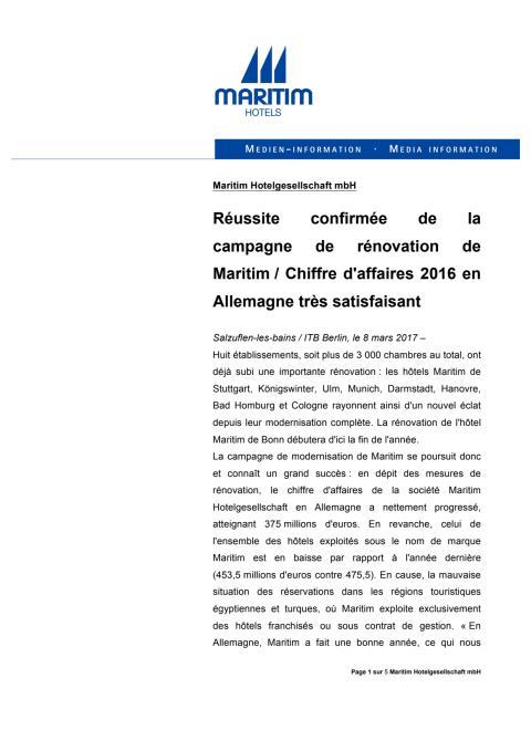 Réussite confirmée de la campagne de rénovation de Maritim