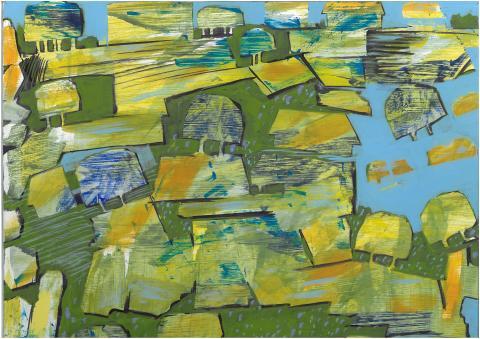 Vår i mittlandet. Målning av Håkan Albeman