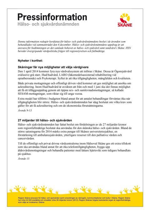 Pressinformation hälso- och sjukvårdsnämnden 131206