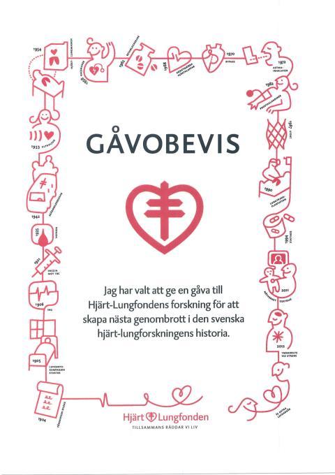 Gåvobevis för gåva till Hjärt- lungfonden