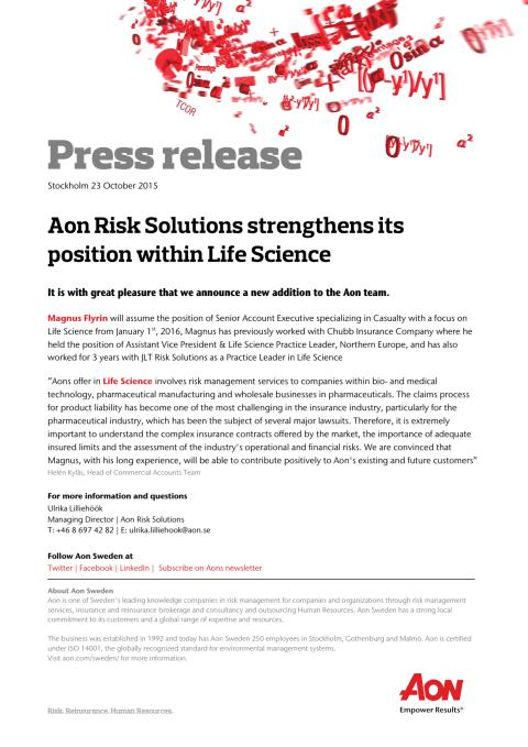 Aon strengthens within Life Science