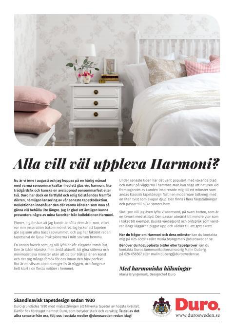 Harmoniska tapetnyheter från Duro
