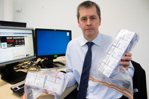 Trading Standards manager for Moray Council, Peter Adamson, with illegal ciggies