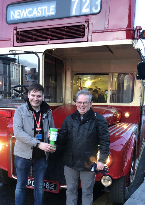 Go North East Managing Director Martijn Gilbert with Gateshead Foodbank volunteer Ian Britton