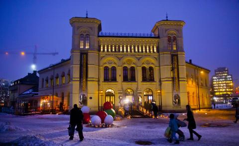 Nobels Fredssenter er pyntet til fest! Fredsprisutstillingen er åpnet.