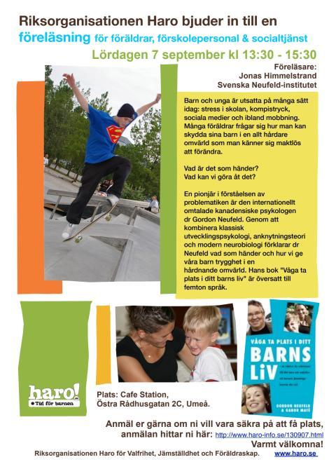 Hur skyddar vi våra barn i en hård omvärld? Haro-föreläsning i Umeå