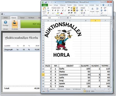 Kassasystem i Microsoft Excel