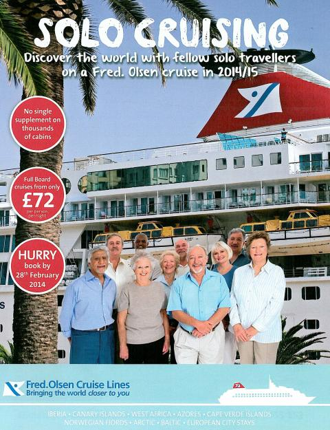 Fred. Olsen Cruise Lines extends a warm welcome to solo travellers with attractive offers in its 2014/15 'Solo Cruising' campaign