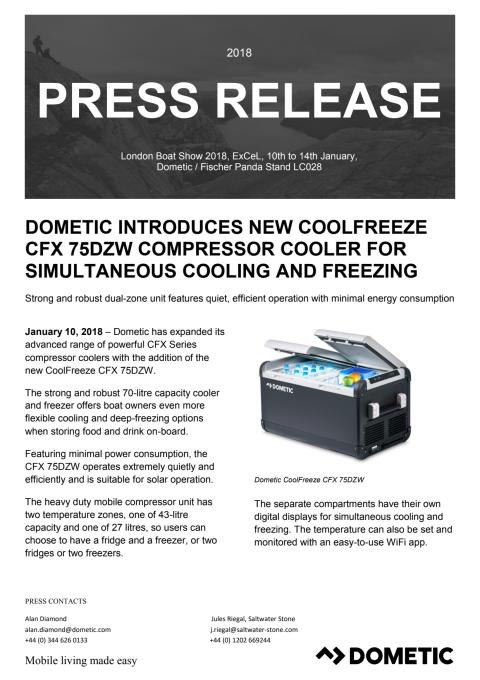Dometic Introduces New Coolfreeze CFX 75DZW Compressor Cooler for  Simultaneous Cooling and Freezing