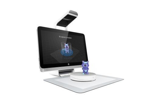 Illustrasjon av en figur som 3D skannes på Sprout by HP