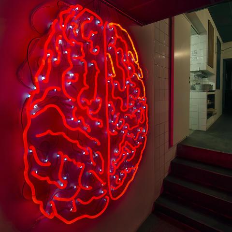 Vad är kopplingen mellan en neonskylt formad som en hjärna och ett ölhus?