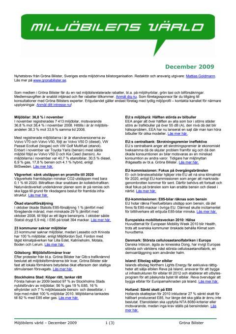 Gröna Bilisters nyhetsbrev för december 2009