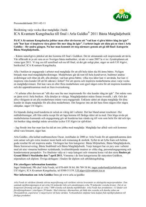 ICA Kvantum Kungsbacka till final i Arla Guldko® 2011 Bästa Matglädjebutik