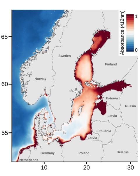 Modis-AQUA satellitdata över Östersjöns rödskiftad ljusmiljö