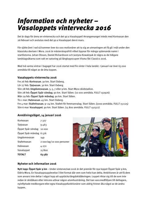 Information och nyheter - vinterveckan 2016 (21 jan)