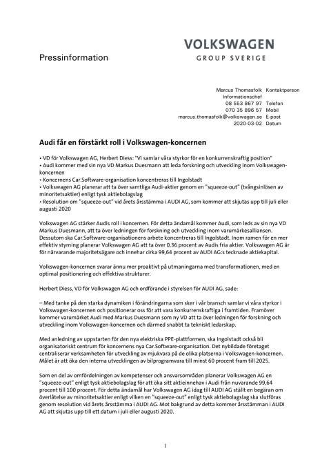 Audi får en förstärkt roll i Volkswagen-koncernen