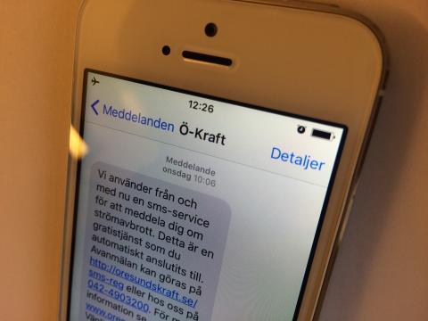 Öresundskraft lanserar avbrottsinformation via sms.