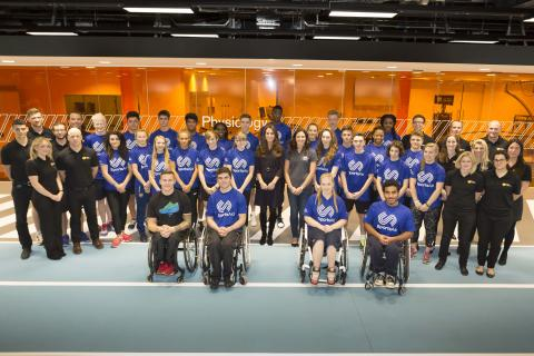 The Duchess of Cambridge, Patron of SportsAid, with SportsAid athletes and GSK scientists at the Human Performance Lab