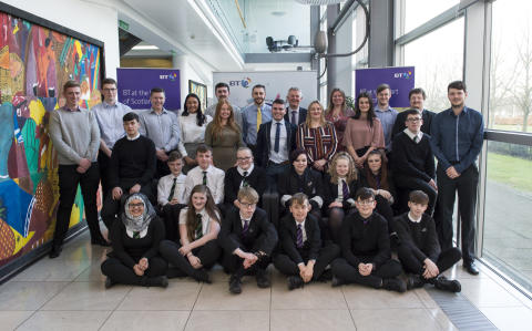 school pupils from St Kentigern's Academy, Blackburn, and Armadale Academy joined BT Cyber-security apprentices at BT's Edinburgh HQ