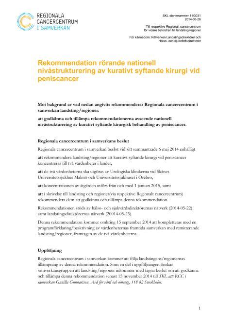 RCCs rekommendation och beslutsunderlag