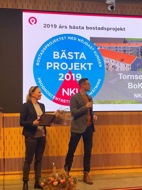 Maria Forssell och Juvall Jungman på scen under Prognoscentrets NKI-seminarium 2020.