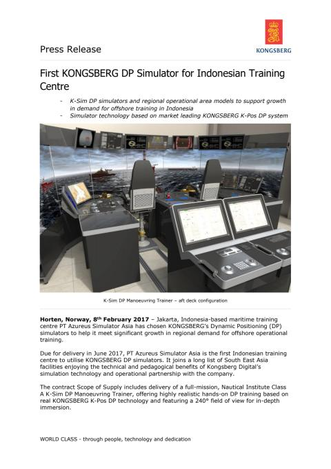 Kongsberg Digital: First KONGSBERG DP Simulator for Indonesian Training Centre