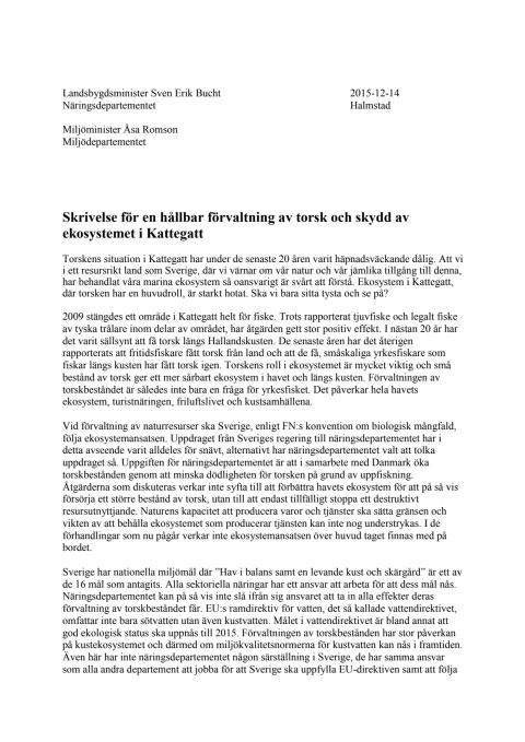 Skrivelse för en hållbar förvaltning av torsk och skydd av ekosystemet i Kattegatt