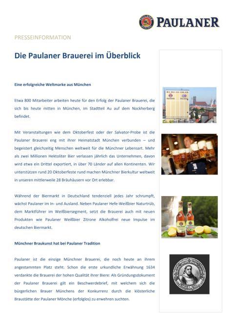 Die Paulaner Brauerei im Überblick