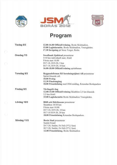 Program JSM i Borås 2012