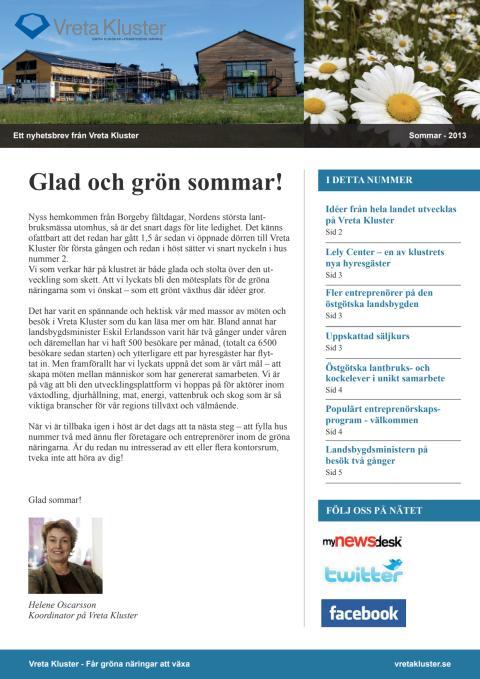 Nyhetsbrev från Vreta Kluster sommaren 2013