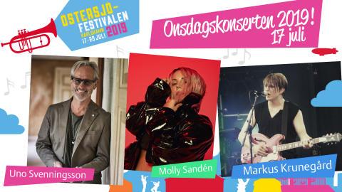 Uno Svenningsson, Molly Sandén och Markus Krunegård inleder Östersjöfestivalen