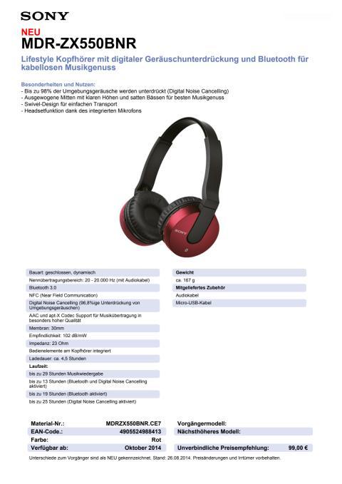 Datenblatt MDR-ZX550BNR von Sony