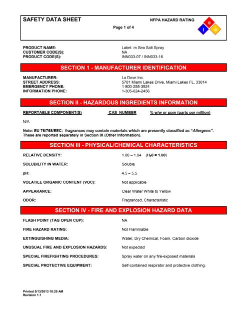 label.m MSDS Sea Salt Spray