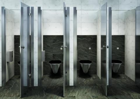 Rostfria vägghängda toaletter