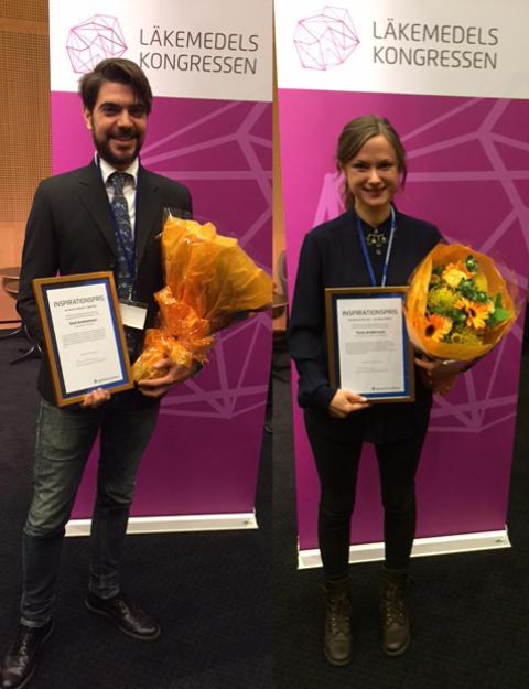 Tone Andersson och Emil Andersson vann pris för bästa kundinsats på apotek 2015