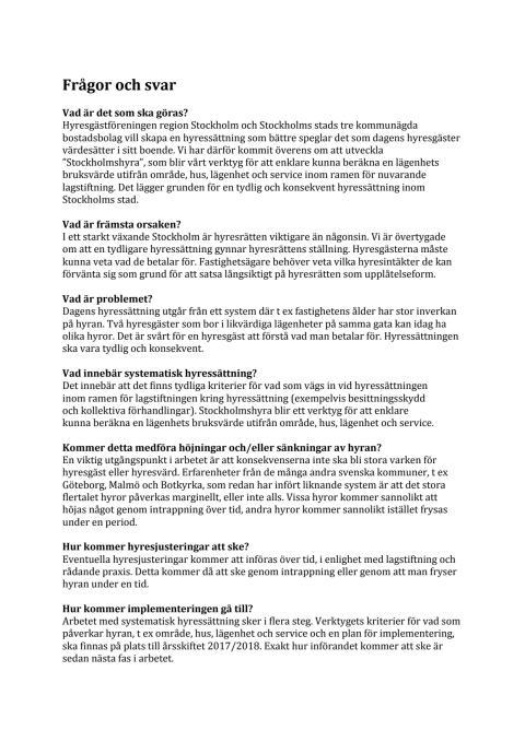 Frågor och svar om Stockholmshyra