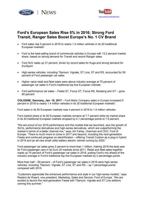 Fords europæiske salgstal stiger i 2016