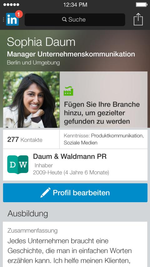 Linkedin optimiert Nutzerprofile für Mobilgeräte: iPhone App