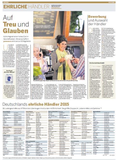Ehrlicher Händler 2015 - DIE WELT