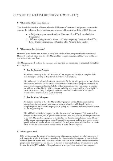 FAQ om Affärsjuridik