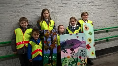 'What a wonderful world' artwork, by St Andrew's Primary children, Shifnal.