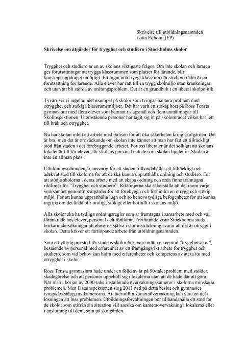 Skrivelse om åtgärder för trygghet och studiero på Stockholms skolor