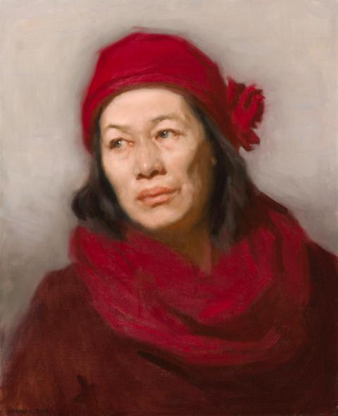 Kvinnoporträtt, olja på duk, Urban Larsson.