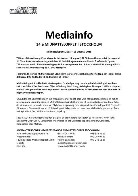 Pressinformation Midnattsloppet Stockholm 2015