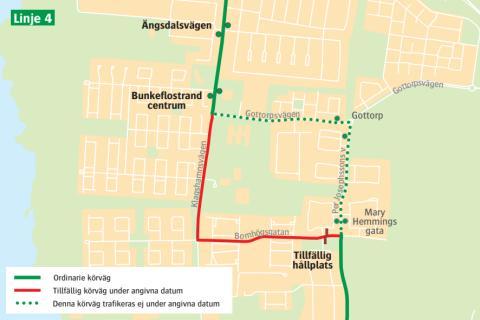 Ändrad körväg i Bunkeflostrand på grund av vägarbete - start 18 januari