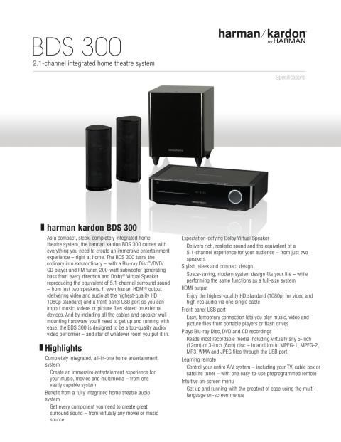 Specification sheet - harman kardon BDS 300 (English)