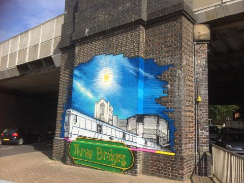 Three Bridges railway bridge has 'wow factor' thanks to art project