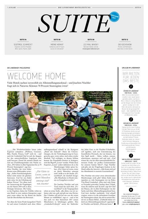 SUITE - Die Lindenhof Hotelzeitung - Ausgabe Frühjahr 2017